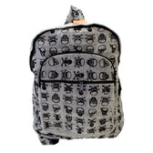 Gray Cotton Skull and Crossbones Backpack