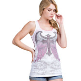 Vocal Apparel White Tank Top Shirt with Eagle Wings and Cross