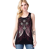 Vocal Apparel Black Tank Top Shirt with Cross and Wings