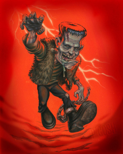 Big Frank by P'gosh Frankenstein Monster Tattoo Graphic Art Print