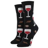Women's Crew Socks Time To Wine Down Black