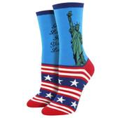 Women's Crew Socks Lady Liberty Patriotic Stars and Stripes Blue