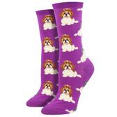 Women's Crew Socks I Shih Tzu Not Puppy Dogs Purple