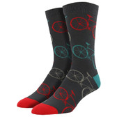 Men's Bamboo Crew Socks Fixie Bicycle Road Bikes Charcoal Grey