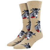 Men's Crew Socks Smart Ass Educated Donkeys Hemp Tan