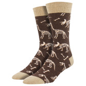 Men's Crew Socks Can You Dig It Fossil Dinosaur Bones Brown