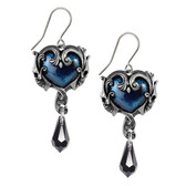 Alchemy Gothic Affaire Du Coeur Dangle Hook Earrings Pewter Jewelry E414