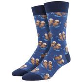 Men's Crew Socks Significant Otter Aquatic Mammal Blue