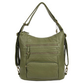 The Lisa Convertible Backpack Crossbody Purse Army Green