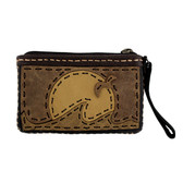 Small Leather Wristlet or Coin Purse with Sunset Design