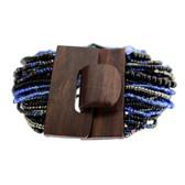 Black and Blue Bali Beaded Stretch Bracelet Glass Beads Wood Buckle
