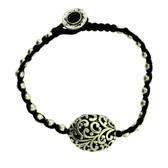 Large Floral Design Bead Silver Alloy Bracelet Wrist Jewelry Waxed Linen Wristband