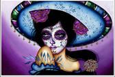 Blue Sombrero by Cat Ashworth Tattoo Art Print Sugar Skull Mask