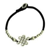Celtic Infinity Knot Design Silver Alloy Bracelet Wrist Jewelry Waxed Linen Wristband