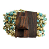 Turquoise Bronze Cream Bali Bracelet Glass Beads Wood Buckle Elastic