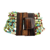 Turquoise Green Rust Cream Bali Bracelet Glass Beads Wood Buckle Elastic
