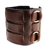 Thick Brown Leather Watchband Cuff Bracelet Wristband