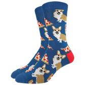 Men's Crew Socks Corgi Pizza Puppy Dogs Blue