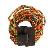 Orange Red Rust Green Bali Bracelet Glass Beads Wood Buckle Elastic