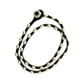Double Wrap Silver Alloy Bracelet Waxed Linen Wristband