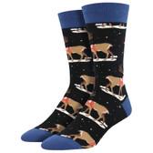 Men's Crew Socks Holiday Classic Christmas Winter Reindeer Black