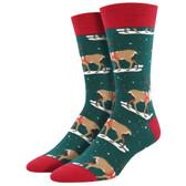 Men's Crew Socks Holiday Classic Christmas Winter Reindeer Green