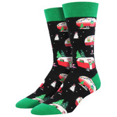 Men's Crew Socks Holiday Christmas Campers Travel Trailers Black