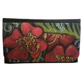 Women's Wallet Black Poly Canvas Tropical Hibiscus Flowers