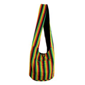Striped Bohemian Reggae Black Rasta Purse Hobo Shoulder Sling Bag