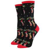 Women's Crew Socks Holiday Christmas Stockings Black