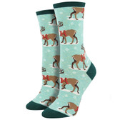 Women's Crew Socks Christmas Holiday Winter Reindeer Mint Green