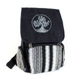 Black Cotton Tree of Life Backpack with Tribal Woven Design