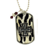 Iron cross dog tag necklace.