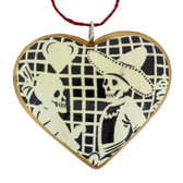 Papel Picado Couple Sugar Skull Day of the Dead Heart Christmas Holiday Ornament