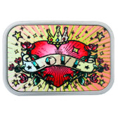 Heart and love classic tattoo art belt buckle.