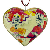 Los Novios Couple Sugar Skull Day of the Dead Heart Christmas Holiday Ornament
