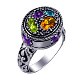 Amethyst, Peridot Citrine and Blue Topaz sterling silver ring.