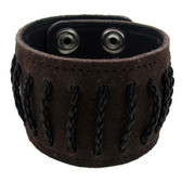 Brown suede cuff bracelet with black leather detail.