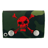 Green camo trifold wallet with red embroidered skull and crossbones.