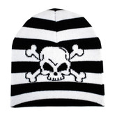 Striped beanie with skull and crossbones.