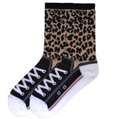 Women's Leopard Sneaker Crew Socks