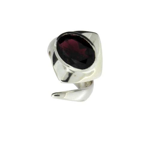 Garnet sterling silver ring.