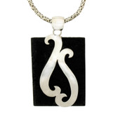 Lava Rock pendant with sterling silver design.