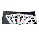 Men's Bi-Fold Genuine Black Leather Wallet Billfold Poker Cards Hand Inside