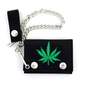 Marijuana embroidered leaf wallet.