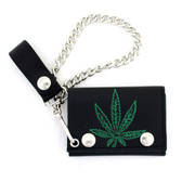 Embossed marijuana leaf black leather wallet.