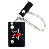 Nautical star embroidered on black leather wallet.