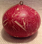 Iropical Butterflies Red Gourd Ornament CRG503C-R