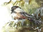 Black-capped Chickadee Oil Painting: Ornament / Mini Wall Hanging