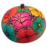 Tropical Flowers Handcarved Gourd Ornament